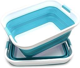 SAMMART Set of 2 Collapsible Plastic Laundry Basket - Foldable Pop Up Storage Container/Organizer - Portable Washing Tub -...