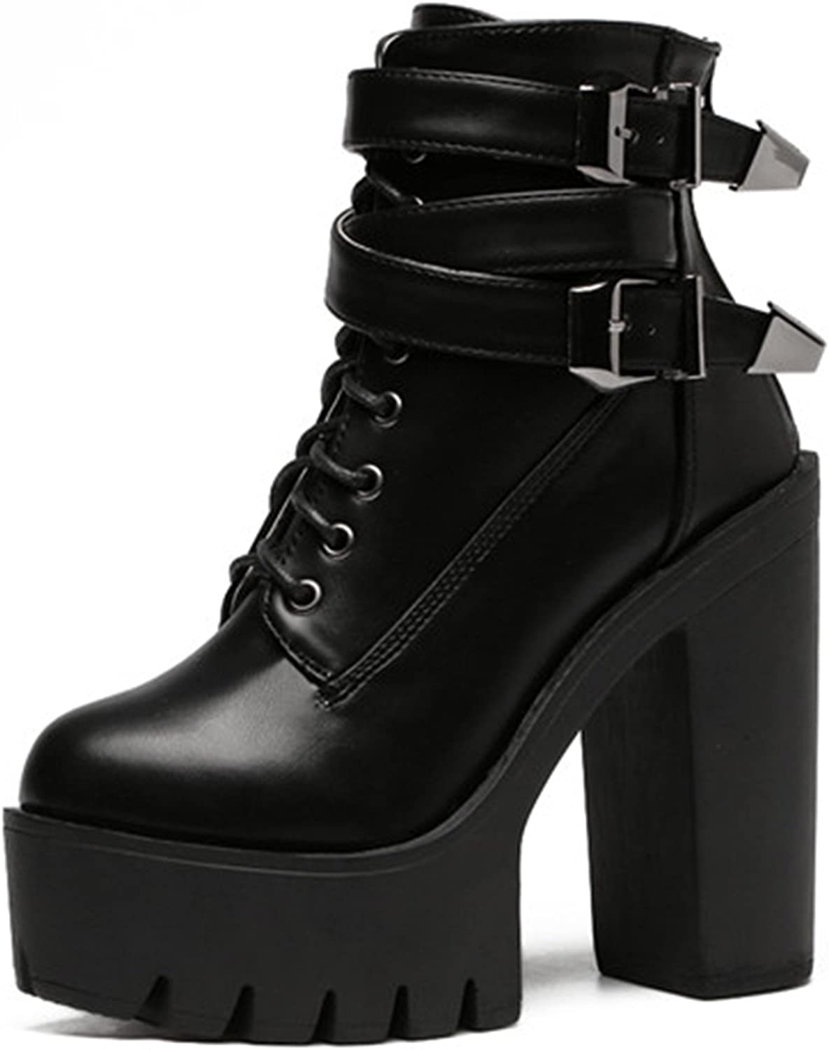 Taylor Heart Nice;Fashion New Spring Fashion Women Boots High Heels Platform Buckle Lace Up Leather Short Booties Black Ladies shoes