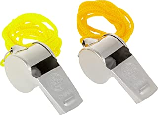 OFXDD Umpire Whistle - Pack of 2 - Metal Coach Necklace Whistle - Steel Ref Whistle - School Sport Whistles