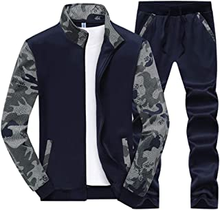 Maweisong Mens Sport Camouflage Patchwork Tracksuit Full Zip Sweatshirt Coat Pants Sweat Suit