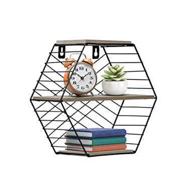 Sorbus Floating Shelves Hexagon Wall Mounted Metal & Rustic Wood Storage for Picture Frames, Home Décor, Great for Living Room, Office, Bedroom, Bathroom, Kitchen, etc (Small Hexagon)