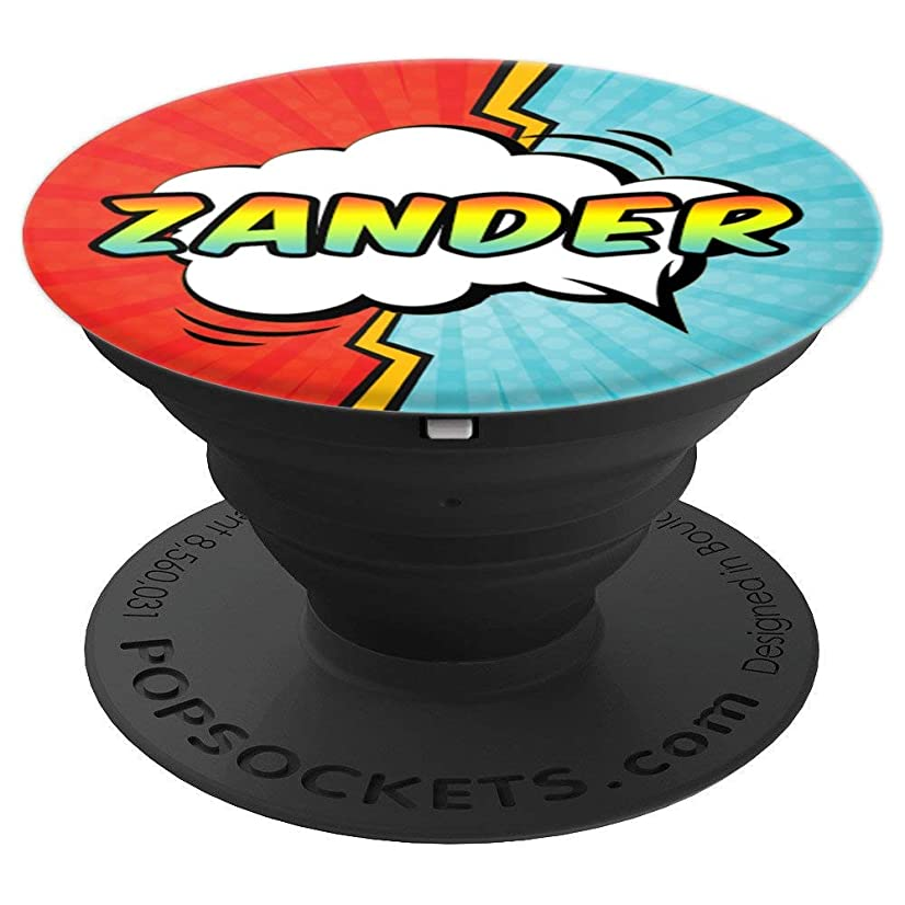 Zander Gift Pop Comic Book Art Superhero Black Red Blue Men - PopSockets Grip and Stand for Phones and Tablets