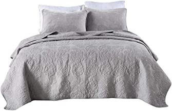 Cotton Bedspread Embossed Printing Bed Cover with 2 Pillowcases Quilted Quilt Blanket Soft Coverlet, Gray, Queen