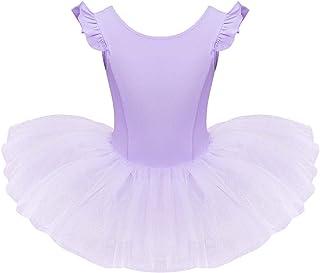 IDOPIP Toddler Kid Girls Ruffle Flutter Sleeve Ballet Dance Dress Tutu Skirted Leotard Ballerina Dancewear Gymnastics Costume