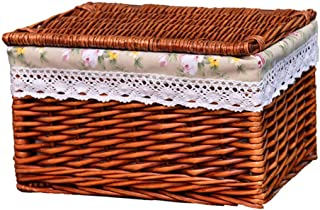 Panier de rangement Salle de bains avec la main Couvercles Paniers en osier de stockage, décoratif Stockage Bins Paniers d...
