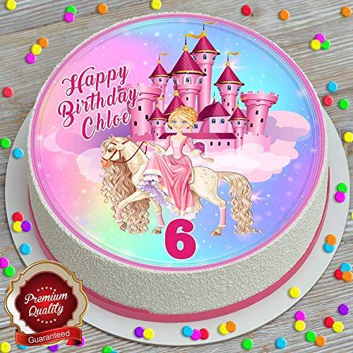 Prinses Kasteel Paard Verjaardag Gepersonaliseerde 7.5 INCH Eetbare Icing Cake Topper Decoratie
