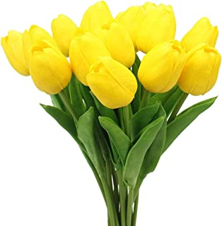 20PCS/Set PU Tulip Flower Real Touch Artificial Silk Flowers Arrangement Bouquet Home Room Office Wedding Party Decor (Yellow)