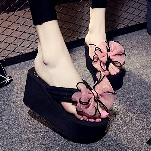 CWJDTXD Zapatillas de verano Zapatillas de moda, sandalias, ropa de verano para mujeres, barato, fresco y sexy, temperamento, junto al mar, ligero, 35 por 34 pies, 8CM negro + lazo rosa