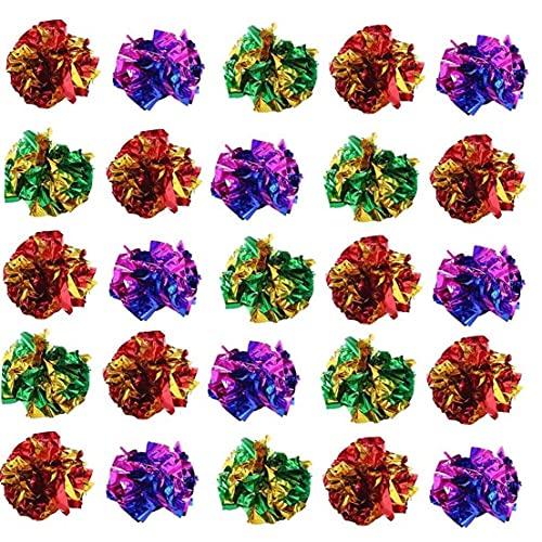 Froiny 25 Stücke Crinkle Bälle Katze Spielzeug Leichte Glänzende Katze Crinkle Ball Rascheln Für Kätzchen Und Erwachsene Katzen