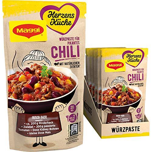 Maggi Herzensküche Pikantes Chili, Würzpaste für Chili con Carne, Vegan, 10er Pack (10 x 65 g)