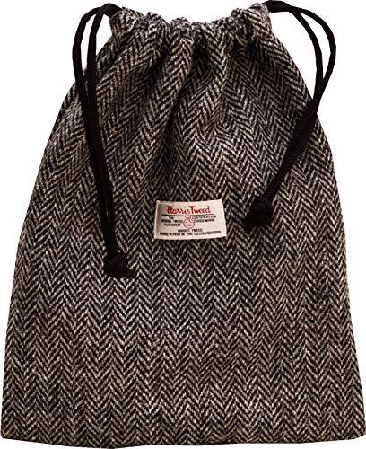 Vagabond Bags Ltd Harris Tweed Herringbone Drawstring Bag Trousse de Toilette, 31 cm, Noir (Black & White Tweed)