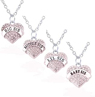 HuiLin Jewelry Matching Necklaces Set Crystal Heart Big Middle Lil Baby Sis Family Member Jewelry