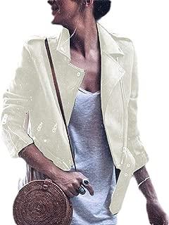 Women's Belt Design Faux Leather Motorcycle Jacket Zip Up Jacket White XS