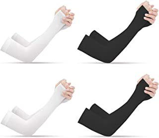 [ 4 Pairs ] Tongke UV Protection Cooling Arm Sleeves, Arm Warmers for Men Women Youth Arm Support for Cycling Baseball Bas...