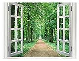Skyeye Adhesivos de Pared Creativo árbol Ventana Camino Falso Efecto 3D Dormitorio Fondo Decorativo