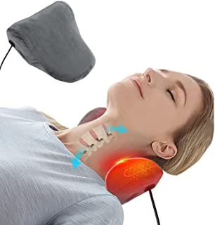 Neck and Shoulder Relaxer with Electric Heat Therapy, Cervical Traction Device for TMJ Pain Relief and Neck Support Shoulder Relaxer, Cervical Spine Alignment, Chiropractic Pillow Neck Stretcher