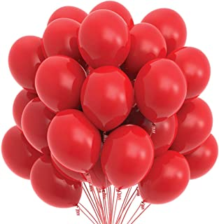 Prextex 75 Red Party Balloons 12 Inch Red Balloons with Matching Color Ribbon for Red Theme Party Decoration, Weddings, Baby Shower, Birthday Parties Supplies or Arch Décor - Helium Quality