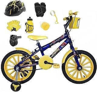 81485535b Bicicleta Infantil Aro 16 Azul Kit Amarelo C Capacete