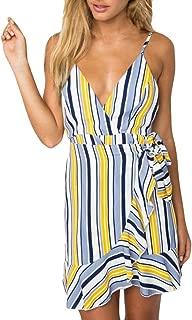 Women Sleeveless Mini Dress Print Stripe Leak Back Beach Dresses Short Mini Dress