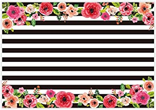 Allenjoy 7x5ft Black and White Stripe Graduction Backdrops Watercolor Pink Flower Banner Birthday Party Wedding Decoration Bridal Baby Shower Photo Studio Booth Background Photocall