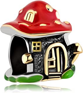 Enamel Mushroom House Fairy Tale Style Charms For Bracelet