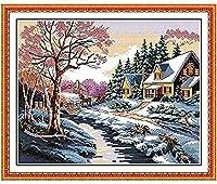クロスステッチ大人、初心者11ctプレプリントパターン田舎の雪景色40x50cmDIYスタンプ済み刺繍ツールキットホームの装飾手芸い贈り物40x50cm(フレームがない )