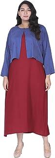 Lastinch Women's Rayon Maxi Dress with Shrug
