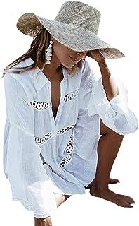 Women's Cotton Beachwear Bikini Swimwear Beach Club Sexy Lace Cover up Tops Bathing Suit