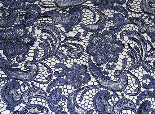 Tela de encaje para vestido de bodas de guipur francés de color azul marino, 120 cm de ancha