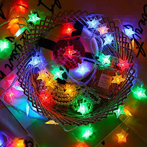 Led Lichterkette,6M 40LED Sterne Lichterketten,LED Lichtervorhang Lichterkette,Bunt Weihnachten Lichterkette,Weihnachtsbaum Stimmungslichte,für Zimmer Party Garten DIY Deko