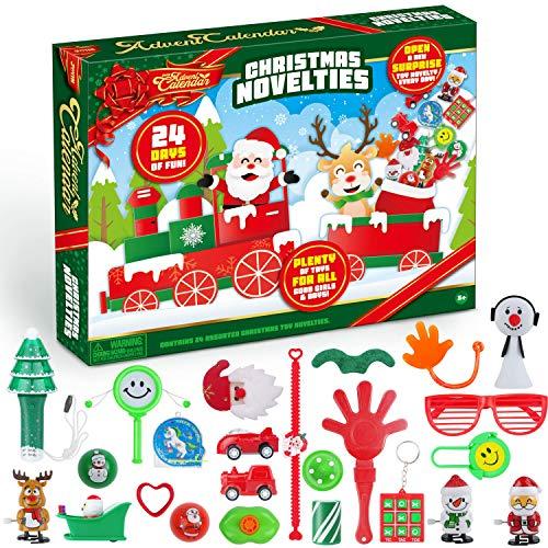 JOYIN 2020 Advent Calendar Kids Christmas 24 Days Countdown Calendar Toys with Xmas Novelty Toys Party Favor Stocking Filler Toys Including Windup Toy, Noise Maker, Tic Tac Toe, Pull Back Cars etc.