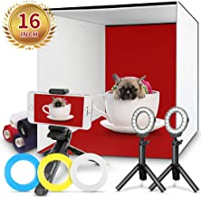 Photo Studio Box, FOSITAN 16x16 inch Table Top Photo Light Box Continuous Lighting Kit with 3 Tripods, 2 LED Ring Lights, 4 Color Backdrops & a Cell Phone Holder for Photography