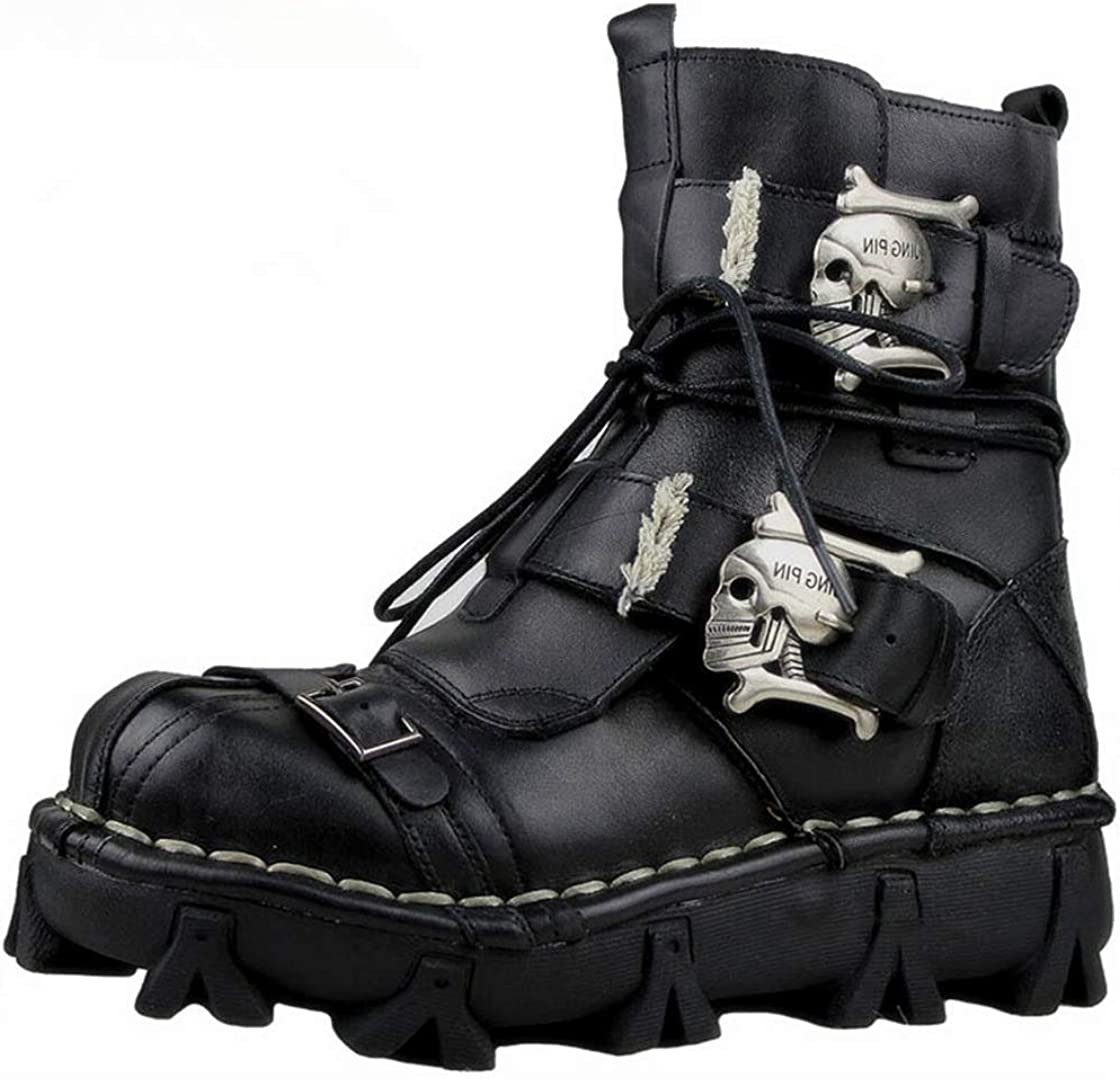 2021 autumn and winter new Mens Black Genuine Leather Charlotte Mall Military Army Skull Boots Gothic Punk