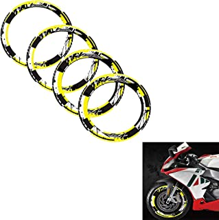 psler Outer Ring Stickers Stripe Wheel Reflective Stickers For Aprilia RS4(Yellow)