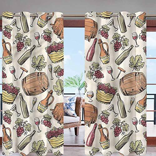 Hiiiman Outdoor Decorative Patio Curtain Waterproof Windproof Viticulture Grapevine Barrel W96 x L84 Rustproof Grommet for Pergola/Porch