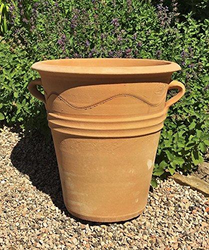 Kreta - Pot de fleurs en céramique résistant au gel - Fabriqué à la main - Pour terrasse, balcon, extérieur et décoration - Salvia - 35 cm