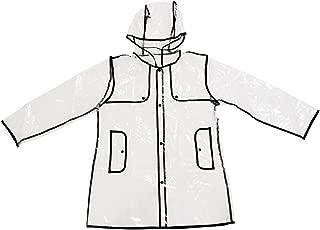 SunTrade Womens Girls Transparent Raincoat Waterproof Lightweight Rain Jacket,Showerproof Hooded Outerwear Travel
