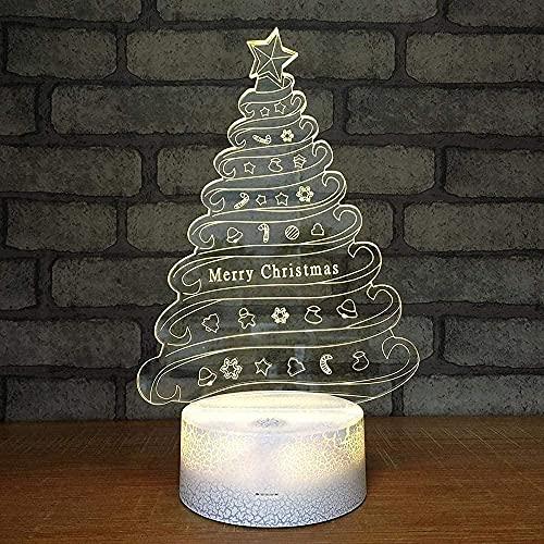 Árbol de navidad luz de noche 3d luz LED conversión de 7 colores control remoto táctil USB decoración del dormitorio regalo de cumpleaños de navidad para el día de los niños