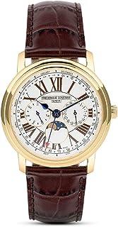 Frederique Constant - Hombres Reloj De Cuarzo Con Esfera Analógica blanca y correa de piel color marrón