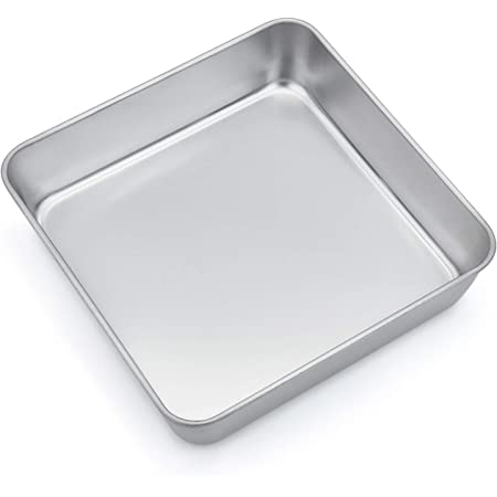 Non-toxic /& Healthy 8 Inch Square Baking Cake Pan Leakproof /& Heavy Duty P/&P CHEF 2 Pcs Stainless Steel Toaster Oven Pans Bakeware for Birthday Cake Lasagna Brownie Easy Clean /& Dishwasher Safe