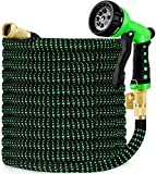 """5. hblife 100ft Garden Hose, All New 2020 Expandable Water Hose with 3/4"""" Solid Brass Fittings, Extra Strength Fabric - Flexible Expanding Hose with Free Water Spray Nozzle"""