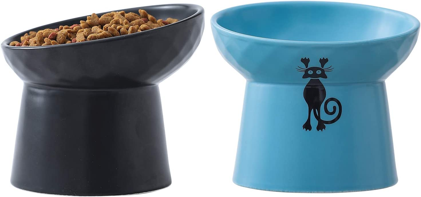 TAMAYKIM Tilted Ceramic Raised Cat Bowls 8 Bo New popularity Superior Water Food and OZ