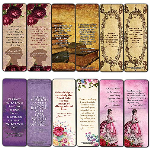 Reading Gifts for Women (30-Pack) - Bookmark Cards Jane Austen Mr Darcy Elizabeth Bennet Bookclub Reader Stocking Stuffers - Floral Flowers Romantic Party Favors