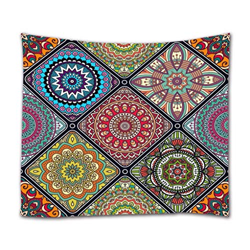 A.Monamour Wandteppiche Ethnischen Stammes-Blumen-Geometrisches Muster Böhmischen Mandalamotiv Vintage-Dekorationen Boho Hippie-Mandala-Gobelin Wandbehänge Vorhang Tagesdecke 203x153cm