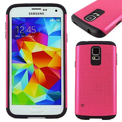 ebestStar - Cover Compatibile con Samsung S5 G900F, Galaxy S5 New G903F Neo Custodia Duo Silicone policarbonato Protezione Integrale, Anti Shock Anticaduta, Rosa [Apparecchio: 142x72.5x8.1mm, 5.1'']