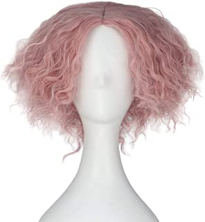 Miss U Hair Synthetic Short Curly Hair Mad Hatter Men's Yellow Red Party Copslay lolita Wig (Pink 2)