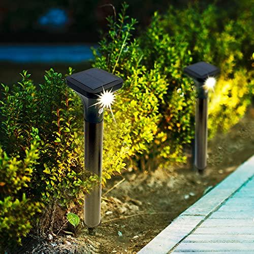 Solarlampe für Außen 2 Stück Wegeleuchte mit Bewegungsmelder Solarleuchten Garten LED Solar Strahler 2 Modi IP65 Wasserdicht Auto Ein/Aus Solarlicht für Außen Garten, Hof, Pfad Warmweiß Warmweiß