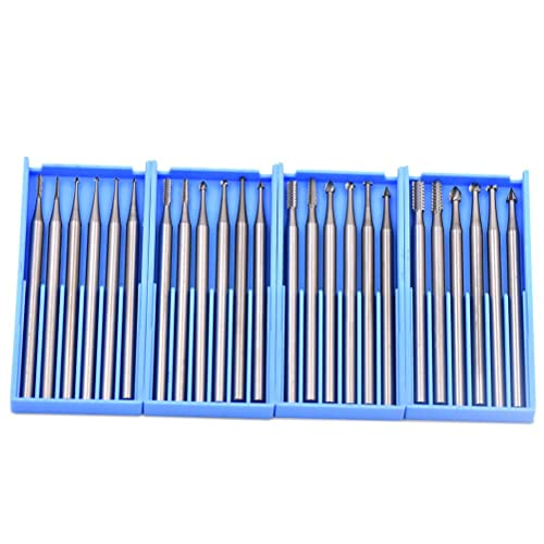 GOXAWEE 24pcs Mini Rotary Tools Steel Burs With 2.35mm Shank For Jewelry/Wood/
