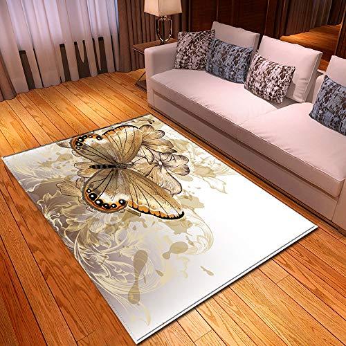 XHDM Tapis De Salon,Art Minimaliste Nordique Tapis Imprimé Fleur d'or Papillon Imprimé Animal Tapis Décor Moderne pour Cuisine Salon Chambre Chevet Entrée, 152X244Cm (59.84X96.06Inch)