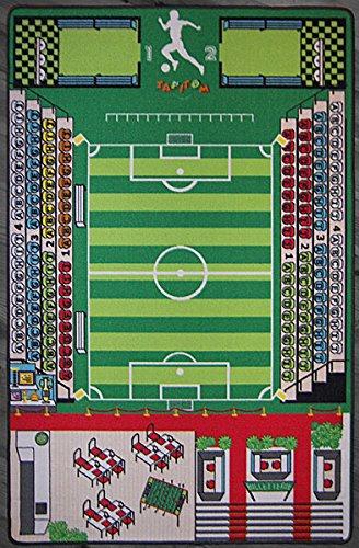 TAPITOM Teppich Kinderzimmer Fußball Spielteppich Kinderteppich Fußballplatz Grün 200 X 130 cm